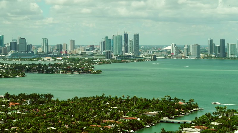 Aerial Miami Beach Islands with far view of Downtown and port