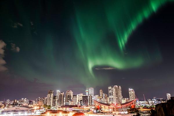 Northern Lights over Downtown Calgary