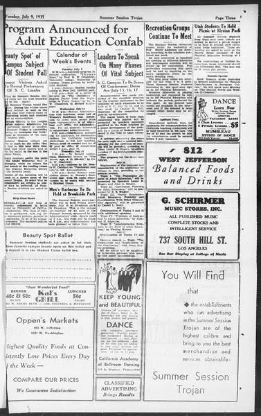 Summer Session Trojan, Vol. 14, No. 7, July 09, 1935