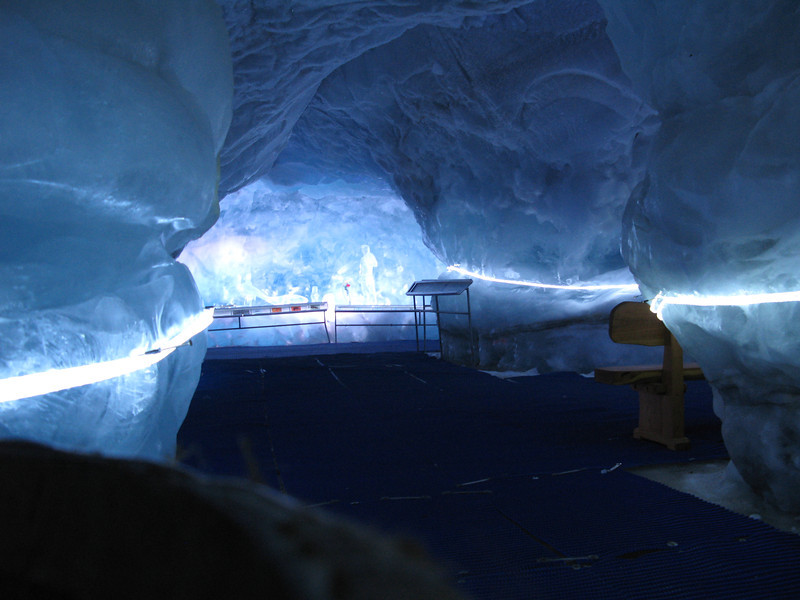 Inside the ice cave at the top of the Klein Matterhorn