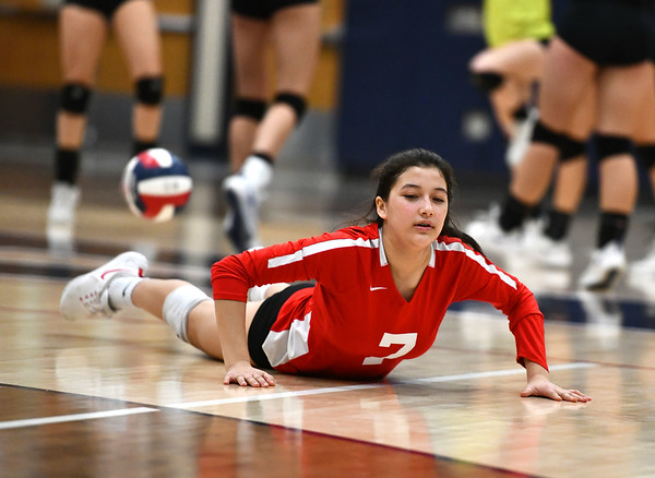 11/7/2019 Mike Orazzi | StaffrConard High School's Nyssa Park (7) during the CCC girls volleyball tournament at Avon High School on Thursday.r
