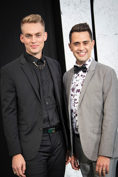 "HOLLYWOOD, CALIFORNIA - SEPTEMBER 28: Will Jardell and James Barrett Wallington attend the premiere of Warner Bros Pictures ""Joker"" on Saturday, September 28, 2019 in Hollywood, California. (Photo by Tom Sorensen/Moovieboy Pictures)"