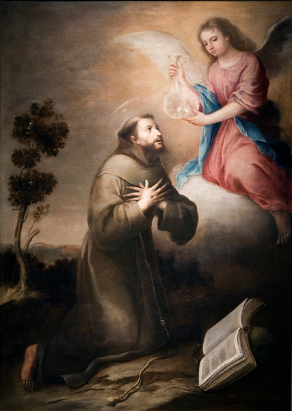 Saint Francis receiving the flask (San Francisco recibiendo la redoma), painting by Alonso Miguel Tovar (18th century), Fine Arts Museum, Seville, Spain