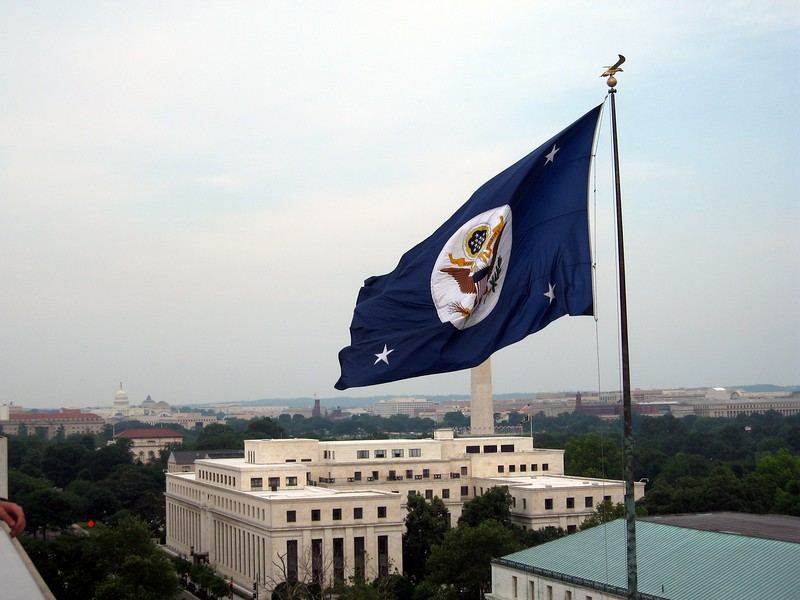 View from the eighth floor balcony of the Harry S Truman Building of the U.S. Department of State