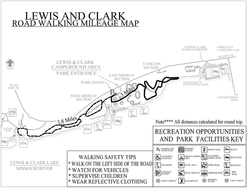 Lewis and Clark Recreation Area (Road Walking Map)