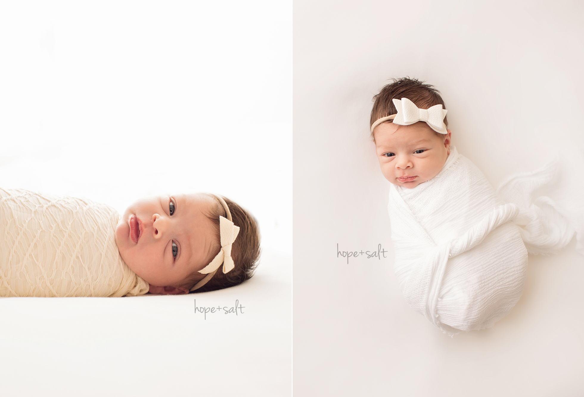 A natural, pure newborn studio session with all creams and neutrals for 11 day old baby girl Audrey by Burlington Photographer Hope + Salt Photography