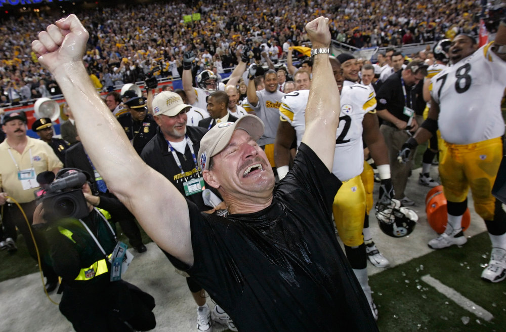 Description of . Pittsburgh Steelers head coach Bill Cowher reacts after being doused with water after the team\'s 21-10 win over the Seattle Seahawks in the Super Bowl XL football game Sunday, Feb. 5, 2006, in Detroit. (AP Photo/Gene J. Puskar)