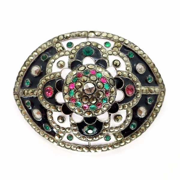 Antique Victorian Enamel Pink & Green Paste Marcasite Panel Brooch