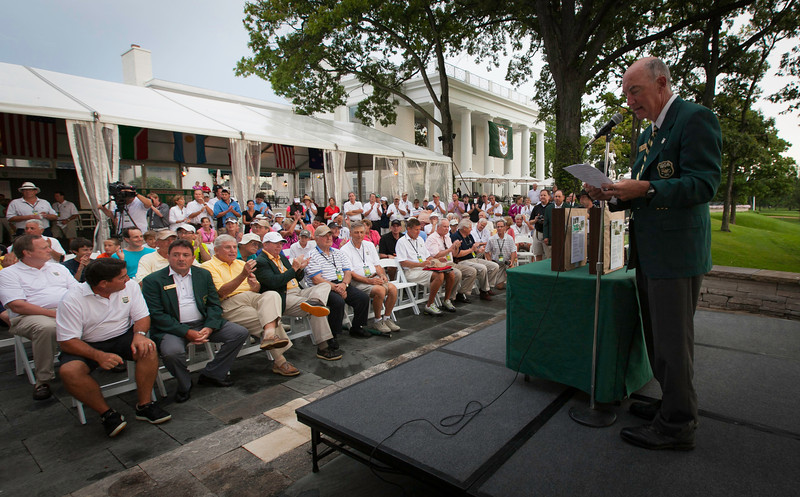 WGA Chairman Jim Bunch welcomes the crowd to the trophy ceremony at the 2012 Western Amateur Championship at Exmoor Country Club in Highland Park IL. on Saturday, August 4, 2012. (WGA Photo/Charles Cherney)