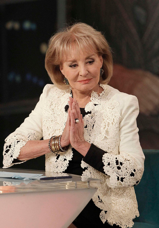". Trailblazing broadcast journalist Barbara Walters, 83, announces her upcoming resignation on ""The View\"", the all-woman show she created in 1997, in this ABC handout photo taken in New York May 13, 2013. Walters, known for her interviews with world leaders and celebrities and the first woman to co-anchor a U.S. evening news program, said on Monday she will retire in the summer of 2014. REUTERS/Lou Rocco/ABC/Handout via Reuters"