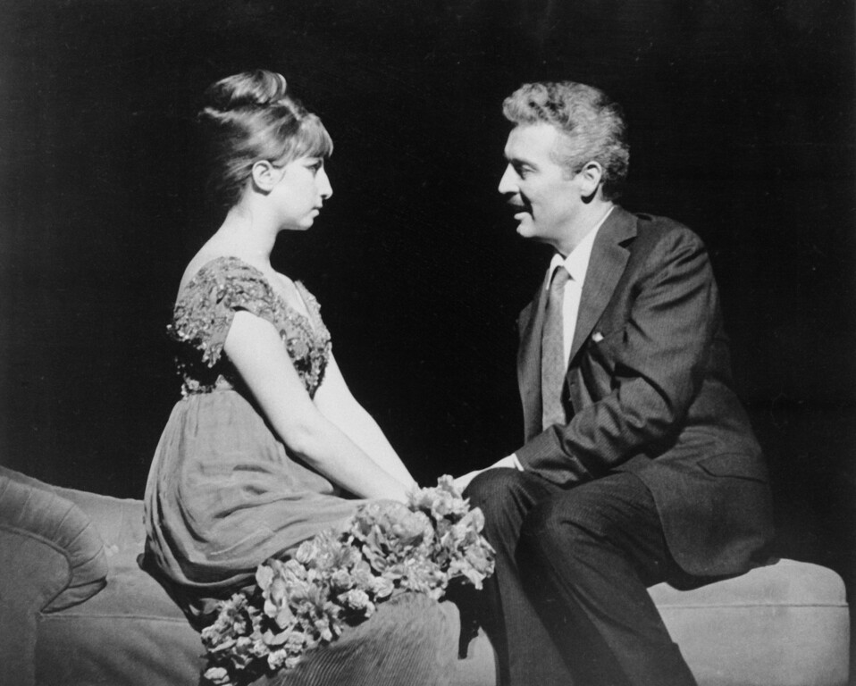 ". Barbra Streisand, left, and Sidney Chaplin are shown in a scene from musical, ""Funny Girl\"" at the Winter Garden Theater in New York on April 4, 1964.   \""Funny Girl is a musical based on the life and career of Broadway comedienne Fanny Brice and her stormy relationahip with entrepreneur and gambler Nicky Arnstein. (AP Photo)"