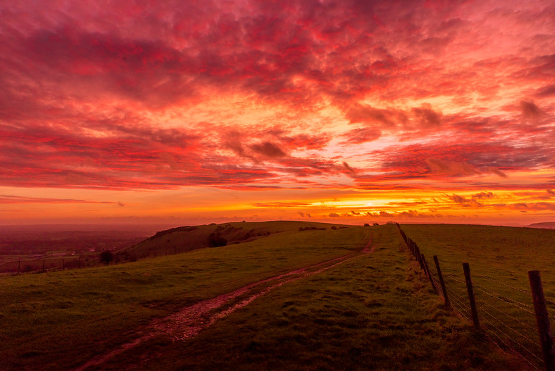 A November Dawn Sky over the South Downs.