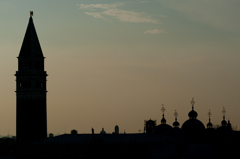 Silhouette of St. Mark's Bell Tower and spires of St. Mark's Cathedral - Venice, Italy