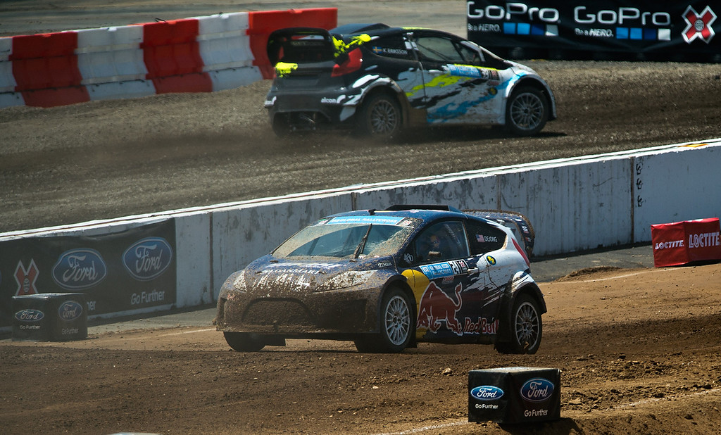 . Drivers Mitchell DeJong (#24), front, and Kevin Eriksson (#39) compete in the Ford RallyCross Lites final round during X Games Los Angeles at Irwindale Event Center on Sunday, August 4, 2013. DeJong won silver. (SGVN/Staff photo by Watchara Phomicinda)