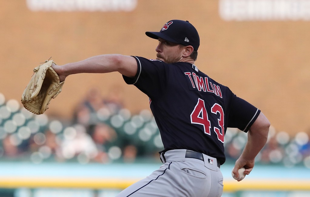 . Cleveland Indians starting pitcher Josh Tomlin throws during the third inning of a baseball game against the Detroit Tigers, Tuesday, May 15, 2018, in Detroit. (AP Photo/Carlos Osorio)