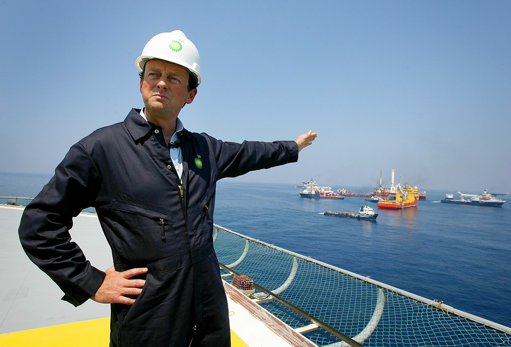 . In this May 28, 2010 photo, BP CEO Tony Hayward stands aboard the Discover Enterprise drill ship during recovery operations in the Gulf of Mexico, south of Venice, La. (AP Photo/Sean Gardner, Pool)