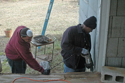 08 02-02 Students working on front porch.JPG