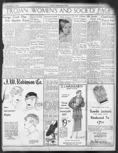 Daily Trojan, Vol. 24, No. 75, January 19, 1933
