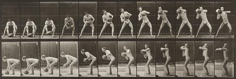 Man in pelvis cloth lifting rock (Animal Locomotion, 1887, plate 318)