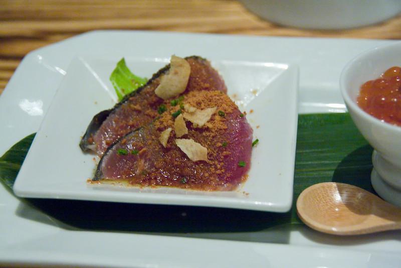 tuna sashimi with bonito flakes