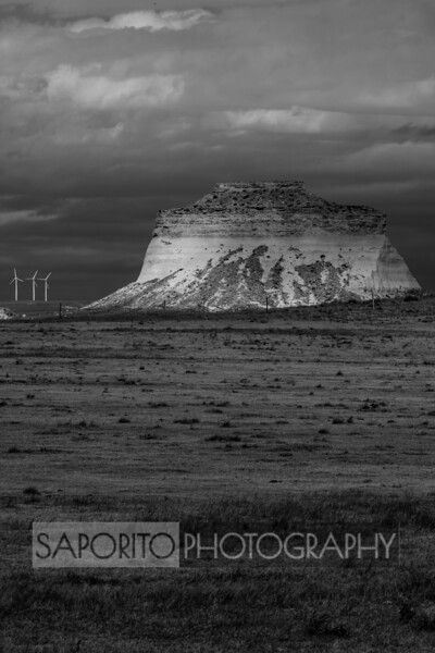 Three Windmills and a Butte