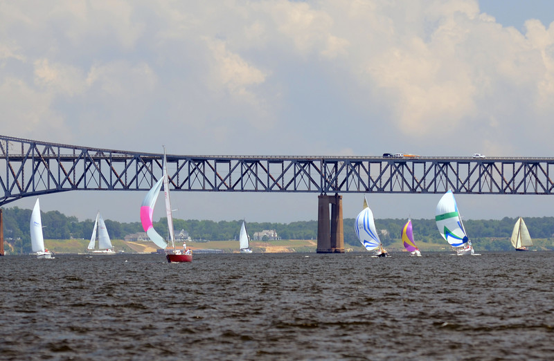 Fleet passing the Rappahannock River Bridge