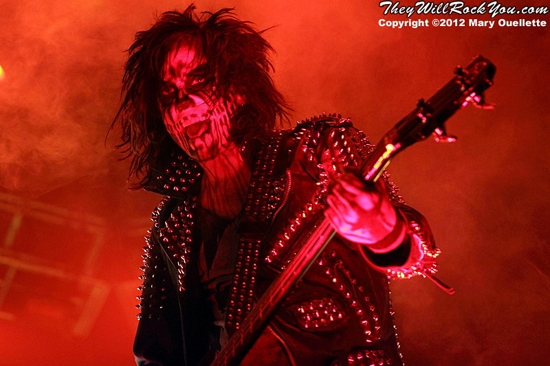 """Piggy D of Rob Zombie performs on October 21, 2012 on the """"Twins of Evil"""" tour at the Verizon Wireless Center in Manchester, New Hampshire"""