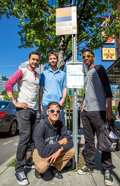 The MARTA Army is a network of Atlanta public transit advocates who work to make our transportation options easier for everyone to navigate.  They regularly print updated details and post the information at MARTA bus stops with weather proof displayes all over metro Atlanta.  The group is led by a board including members Patrick Book, left, Phillip Cherry, center, Bakari Height, right, and Binh Dam, bottom, at the busy 10th Street and Piedmont Ave bus stop in Midtown.  Each member has their own stops to maintain and update as needed and with the I-85 highway collapse the groups mission is expanding.  (Jenni Girtman / Atlanta Event Photography)