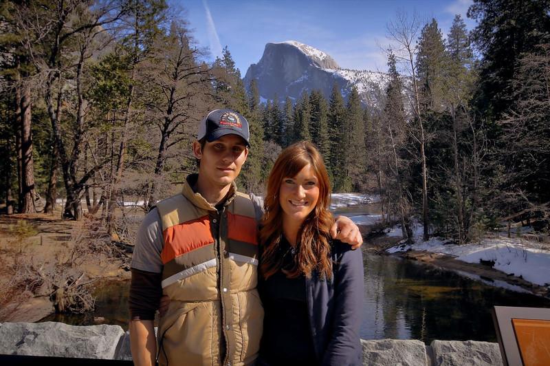 Matt and Lindsay at the Merced River bridge, Yosemite. Feb 2010