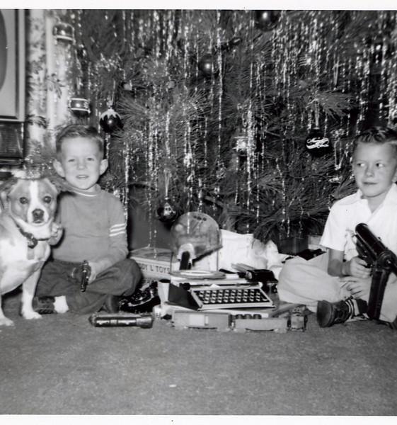 Circa:1956, John & Jay at Christmas, with Boots