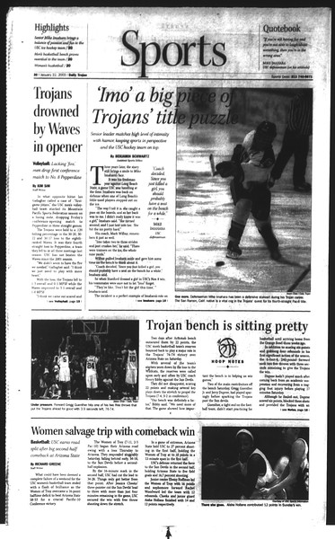 Daily Trojan, Vol. 148, No. 5, January 22, 2003
