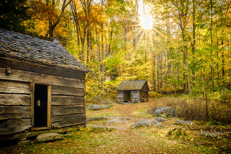 Two 19th Century Cabins in Autumn