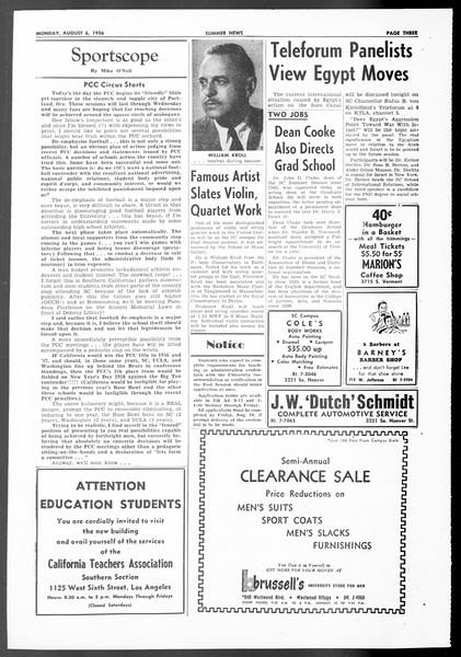 Summer News, Vol. 11, No. 13, August 06, 1956