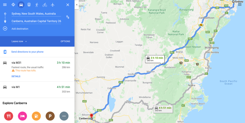 sydney to canberra direct route