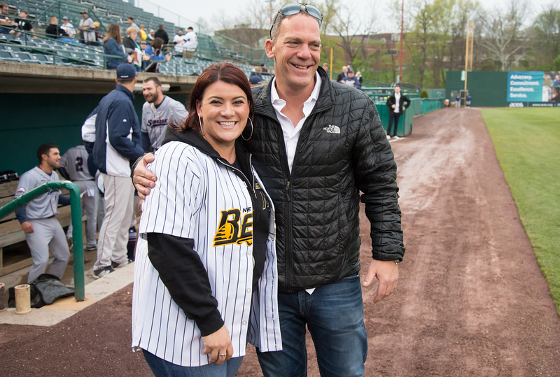 05/03/19  Wesley Bunnell   Staff  The New Britain Bees home opener vs the Somerset Patriots on Friday night at New Britain Stadium. New Britain Mayor Erin Stewart stands next to Bees partner Anthony Iacovone before throwing out her ceremonial first pitch.