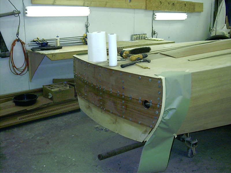 Transom planks glued in place.