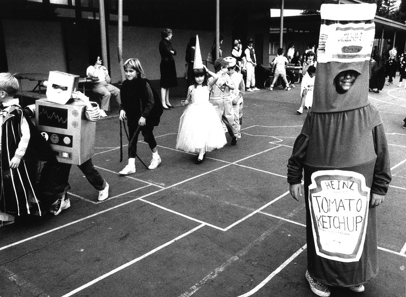 . 1988: Ketchup bottle Matthew Jones, 11, at the Halloween parade at Fairmeadow Elementary, Palo Alto. (Eugene Louie, Mercury News)
