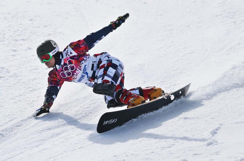 . Vic Wild of Russia competes in the semi final of the men\'s Snowboard Parallel Giant Slalom at Rosa Khutor Extreme Park at the Sochi 2014 Olympic Games, Krasnaya Polyana, Russia, 19 February 2014.  EPA/SERGEY ILNITSKY