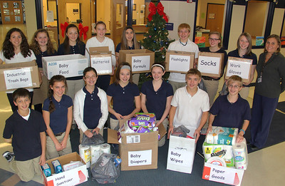 Donations of Items to Hurricane Victims, Language Arts Class, Middle School, Tamaqua (11-30-2013)