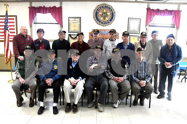 12/7/2017 Mike Orazzi | Staff WWII veterans during the Pearl Harbor Day ceremony at Bristol American Legion Thursday morning.