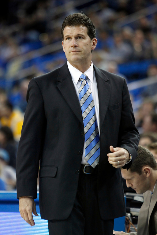 . UCLA head coach Steve Alford on the sidelines in the first half of their NCAA college basketball game against Oakland Tuesday, Nov. 12, 2013, in Los Angeles. (AP Photo/Alex Gallardo)