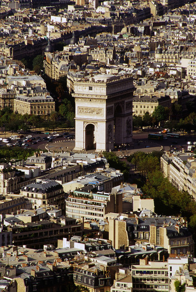 Aeriel View of the Arch of Triumph