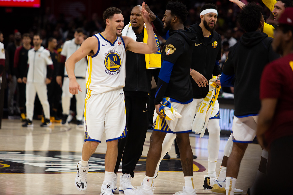 . The Golden State Warriors celebrate during game 3 of the NBA Finals in Cleveland on June 6, 2018.  Michael Johnson/ The News Herald