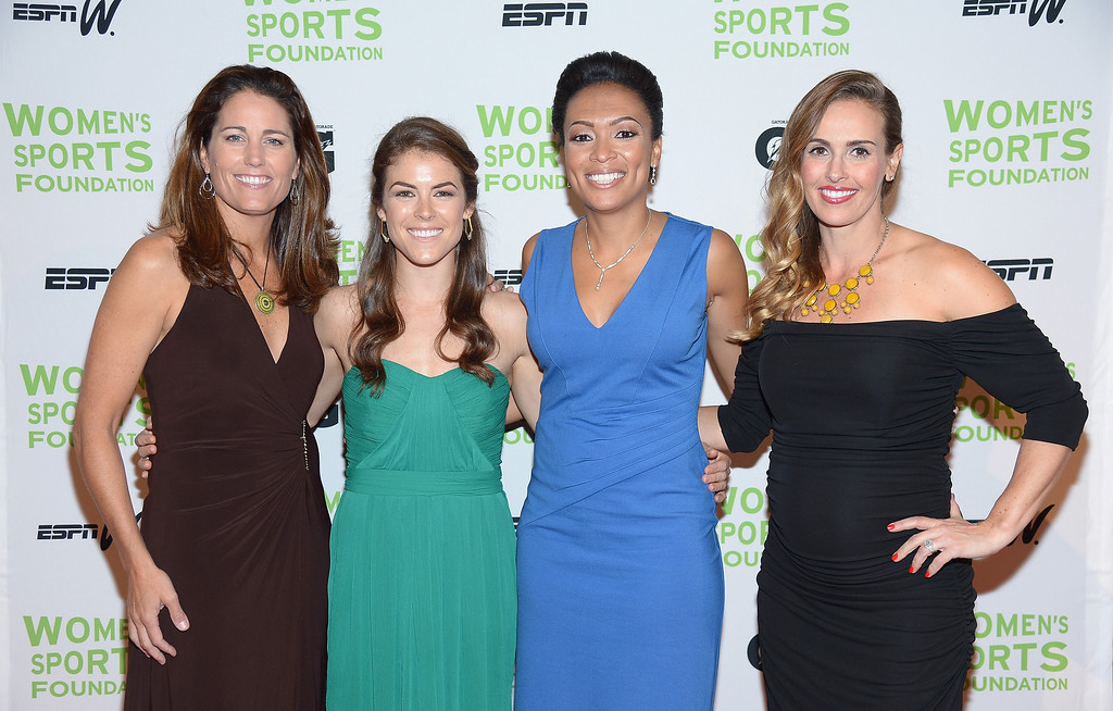 . NEW YORK, NY - OCTOBER 16:  (L-R) Julie Foudy,  Kelley O\'Hara, Angela Hucles and Heather Mitts attend the 34th annual Salute to Women In Sports Awards at Cipriani, Wall Street on October 16, 2013 in New York City.  (Photo by Michael Loccisano/Getty Images for the Women\'s Sports Foundation)
