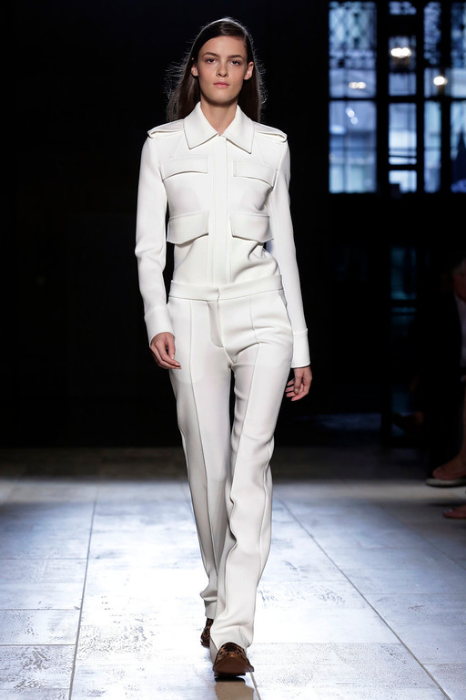 . The Victoria Beckham Spring 2015 collection is modeled during Fashion Week in New York, Sunday, Sept. 7, 2014. (AP Photo/Richard Drew)