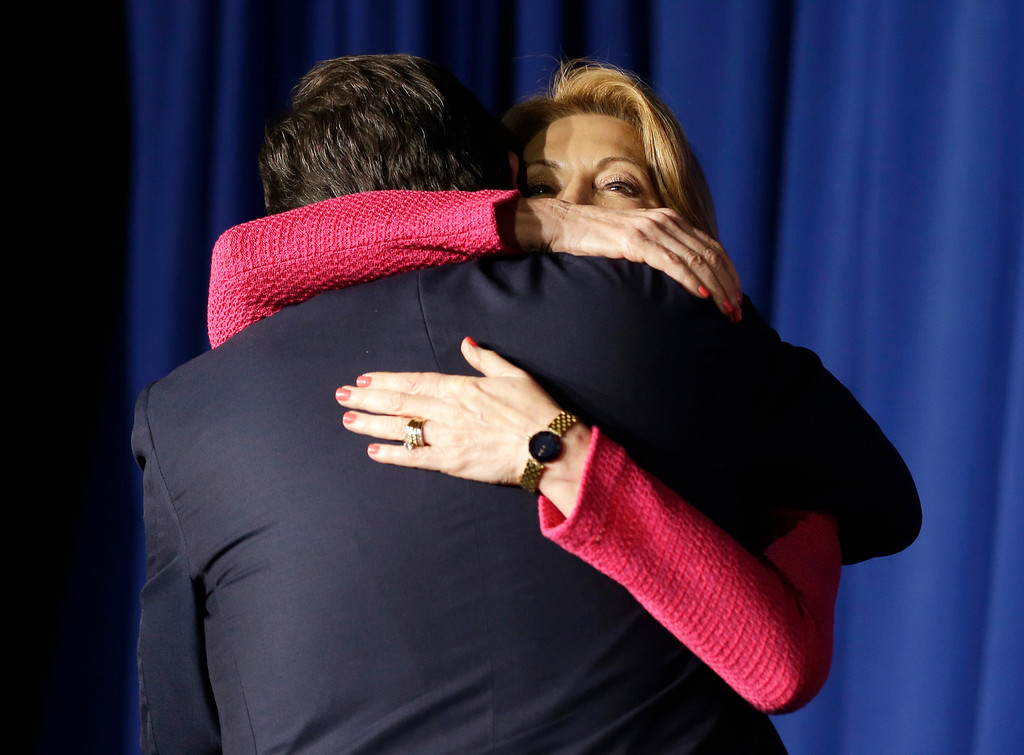 . Republican presidential candidate, Sen. Ted Cruz, R-Texas, hugs vice-presidential candidate Carly Fiorina following a primary night campaign event, Tuesday, May 3, 2016, in Indianapolis. (AP Photo/Darron Cummings)
