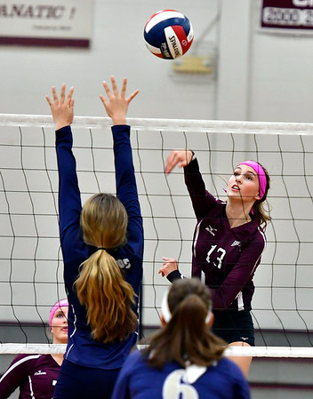 10/1/2019 Mike Orazzi | StaffrBristol Central's Emily Ericson (13) during Tuesday's volleyball match with Platt at BC.