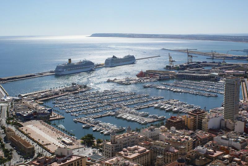 Alicante, Spain.  View from Santa Barbara Castle.  Ship on the left is Costa Magica.