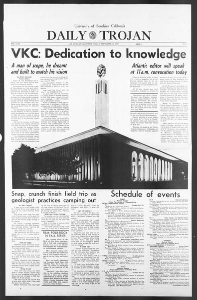 Daily Trojan, Vol. 58, No. 10, September 30, 1966