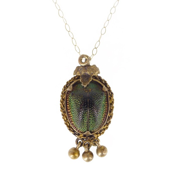 Antique Victorian 9ct Gold Scarab Tortoise Beetle Pendant Necklace